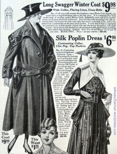 Swagger coat from Bedell clothes catalog, Advertised in Ladies' Home Journal, Oct. 1917. For teens and women.