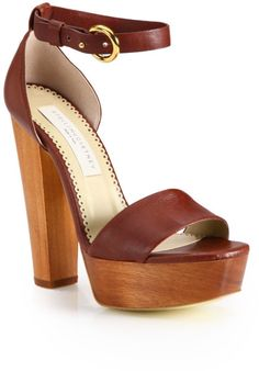 Stella Mccartney Brown Faux Leather and Wooden Platform Sandals