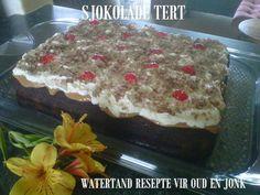 SJOKOLADE KOEKE Tart Recipes, Dessert Recipes, Cooking Recipes, Dessert Ideas, Healthy Recipes, Kos, Fridge Cake, Flan Cake, Delicious Desserts