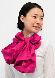 This origami inspired scarf would dress up any work outfit!