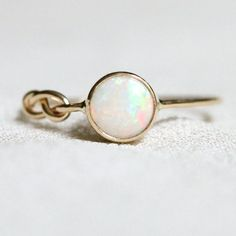 SOLID 14k Yellow or White Gold Natural Fiery AAA Opal by MARYJOHN