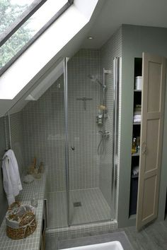 Attic Bathroom Ideas 6 - New house Loft Conversion - Attic Shower, Small Attic Bathroom, Loft Bathroom, Upstairs Bathrooms, Bathroom Renos, Bathroom Interior, Bathroom Ideas, Sloped Ceiling Bathroom, Bathroom Mirrors