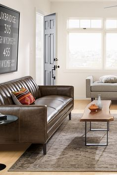 The channeled back of our Goodwin leather sofa sets this elegant sofa apart and comfortably supports you at a gentle angle. Living Room Upholstery, Upholstery Cushions, Upholstery Foam, Furniture Upholstery, Living Room Furniture, Furniture Design, Upholstery Repair, Upholstery Cleaner, Living Rooms