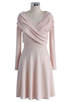 Wrap in Elegance Pink Knitted Dress - Ruffle - Dress - Retro, Indie and Unique Fashion