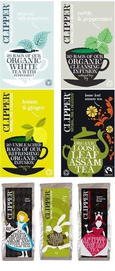 clipper tea packaging - lovely hand-lettering