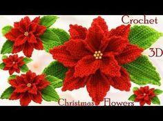 Como hacer flores Nochebuena a Crochet en punto 3D tejido tallermanualperu - YouTube