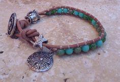 Leather Wrap Beaded Bracelet with Glass Beads Silver by JaxSnacks, $35.00