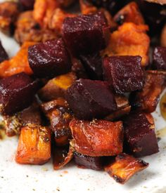 Sweet and earthy, this sumptuous roast vegetable recipe with beetroot and sweet potato provides a side dish which will complement a range of gamey meats - by James Sommerin Roasted Vegetable Recipes, Veggie Recipes, Vegetarian Recipes, Cooking Recipes, Healthy Recipes, Roast Recipes, Meal Recipes, Recipes Dinner, Beetroot Recipes