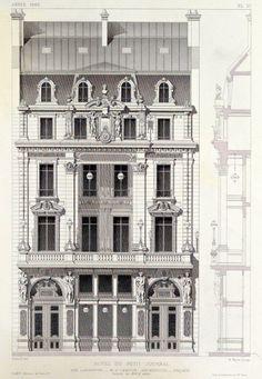 hotel arquitectura ARCHI/MAPS Elevation of the Hotel du Petit Journal on Rue Lafayette, Paris Parisian Architecture, Neoclassical Architecture, Classic Architecture, Historical Architecture, Sustainable Architecture, Architecture Details, Architecture Blueprints, Architecture Drawings, Landscape Architecture