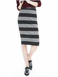 Bold Stripe Pencil Skirt