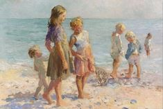 Adam Emory Albright. Children at the beach.
