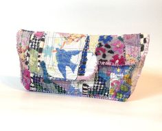 An Artsy Clutch Bag Upcycled in Purples and Blues door itzaChicThing, $65.00