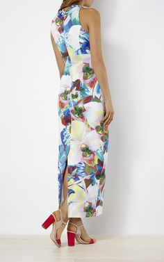 Karen Millen, ORCHID-PRINT MAXI DRESS Multicolour