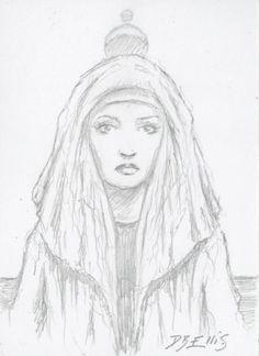 LADY JESSICA ON ARRAKIS   original sci fi art, ACEO, original DUNE art by David Ellis
