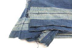 Antique Japanese Boro. Hand Woven Cotton Fabric. by FurugiStar