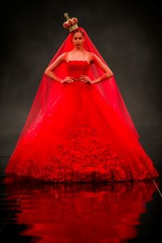 Queen of Hearts - perfect for an Alice themed wedding - Ezra Haute Couture