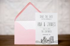 Pittsburgh Skyline Wedding Save the Date by Pineapple Street Designs