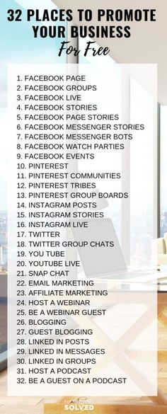 32 Places You Can Promote Your Business For Free // Marketing Ideas // Business Promotion Ideas // How to market your business // Marketing Solved learn how to make money online from affiliate marketing