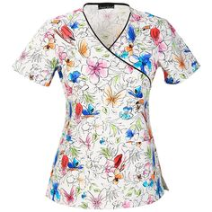 This Cherokee Women's Mock Wrap Floral Print Scrub Top adds an artistic feel to your everyday work look. A wide array of colors makes it easy to match with your favorite color scrub pants.