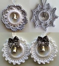 Fashion Make Christmas decorations with curtain rings . - Fashion Make Christmas decorations with curtain rings – - Crochet Snowflake Pattern, Christmas Crochet Patterns, Holiday Crochet, Crochet Snowflakes, Christmas Knitting, Crochet Christmas Decorations, Crochet Decoration, Crochet Ornaments, Crochet Crafts