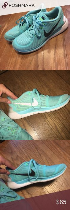 AQUA BLUE NIKE FREE These shoes are my absolute favorite. They are so comfy, only worn once or twice! Like brand new Nike Shoes