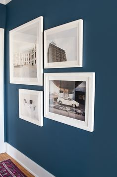 colors for gallery wall above sofa using idea for blue accent wall. Paint color is Blue Danube, Benjamin Moore. Room Paint Colors, Interior Paint Colors, Blue Paint Colors, Blue Room Paint, Interior Painting, Color Blue, Benjamin Moore Blue, Living Room Paint, Blue Living Room Walls