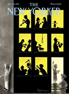 The New Yorker Cover - January 1997 Poster Print by Ian Falconer at the Condé Nast Collection The New Yorker, New Yorker Covers, Capas New Yorker, Ian Falconer, New Yorker Cartoons, Spring Landscape, Magazine Art, Magazine Covers, Magazine Editorial