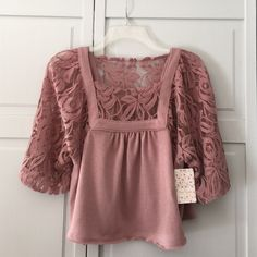 """Spotted while shopping on Poshmark: """"NWT Free People Mauve Lace Flowy Top""""! #poshmark #fashion #shopping #style #Free People #Tops"""