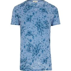 Blue burnout floral print t-shirt £22.00