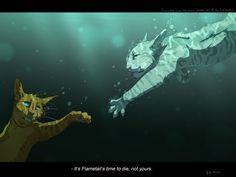Jayfeather tries to save Flametail, but ancient cat Rock tells him it's not Jayfeather's  time to die