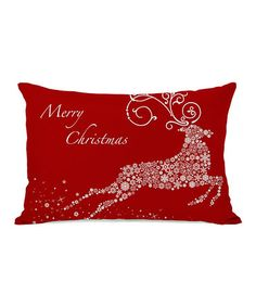 Love this Red Snowflake Reindeer Throw Pillow on #zulily! #zulilyfinds