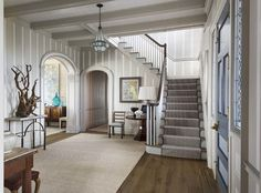 Stair runner, rustic hardwood: Hamptons Home - Dering Hall - Robert A.M. Stern Architects