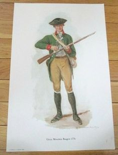 Quality Art Print of an rare Original 1956 Painting PrintAmerican Revolutionary War Green Mountain Rangers 1776 - Vermont Painting by the famous Raymond Desvarreux Larpenteur From a series of Revoluti American Revolutionary War, Vintage Art Prints, Green Mountain, Revolutionaries, Vermont, Ranger, Baseball Cards, Painting, Painting Art