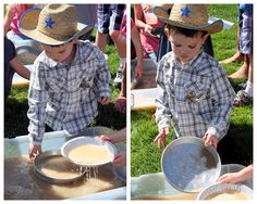 """Panning for """"gold"""" Cowboy Birthday Party, Birthday Parties, Birthday Ideas, Panning For Gold, Western Parties, Golden Birthday, Make Your Mark, Indiana, Davy Crockett"""