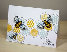 Paper craft and mixed media inspiration, tutorials videos, photos and step by step instructions Scrapbooking, Scrapbook Cards, Card Making Inspiration, Making Ideas, Hexagon Cards, Bee Cards, Bee Theme, Creative Cards, Bee Creative