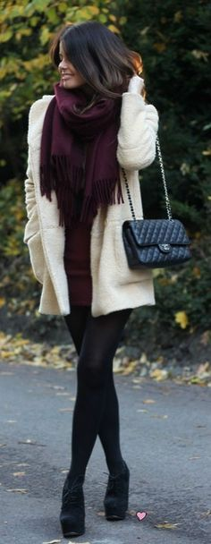 Maroon, cream and black tights   #HUE #HUEGotTheLook