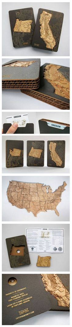 State puzzle made out of corrugated. Excellent innovative use of packaging material PD. Packaging Carton, Map Design, Graphic Design, Gravure Laser, Map Puzzle, Landscape Model, Arch Model, Map Art, Laser Engraving
