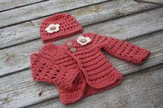 0-6 month crochet cardigan and matching ha
