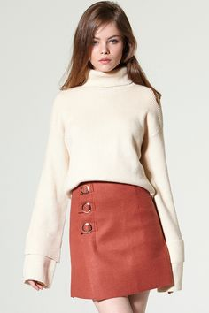Jolly Gold Button Skirt Discover the latest fashion trends online at storets.com #Pullover Pleated Dress  #Pullover Pleated Dress  #Tweed Skirt