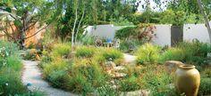 Lovely and loose Santa Barbara garden by Grace Design Associates. California Native Landscape, California Garden, Farmhouse Landscaping, Outdoor Landscaping, Landscaping Ideas, Santa Barbara, Landscape Design, Garden Design, Garden Sitting Areas