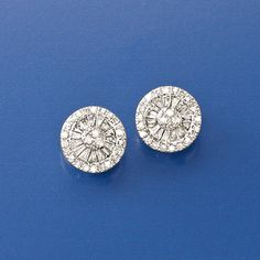 Round and baguette diamonds are neatly arranged  into a pair of dazzling studs in 14kt white gold. >>Click on the Diamond Stud Earrings for more styles like this at Ross-Simons. Diamond Studs, Diamond Jewelry, Gemstone Jewelry, Gold Jewelry, Fine Jewelry, Jewellery, Mom Hairstyles, Baguette Diamond, Ear Studs