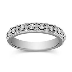 14K White Gold Diamond Anniversary Band With Milgrain Work  2ACDD1528 | Borsheims Fine Jewelry & Gifts 800-642-GIFT