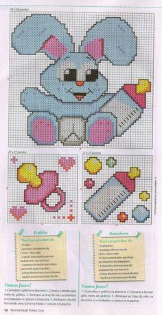 Lindos gráficos para vocês bordarem em enxoval de bebês. É um gráfico mais lindo que outro!