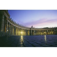 Nightfall At The Square At St Peters In The Vatican Canvas Art - Jim Holmes Design Pics (34 x 22)