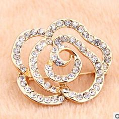 Classic Luxurious Rose Flowers Wedding Brooches For Bridal Bride Women Crystal Broches 18K Real Gold Plated Brooch Pins Broche-in Brooches from Jewelry on Aliexpress.com | Alibaba Group