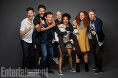 James Frain, Shazad Latif, Jason Isaacs, Doug Jones, Sonequa Martin-Green, Mary Wiseman, and Anthony Rapp (Star Trek: Discovery)
