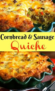 This Cornbread and Sausage Quiche is a delectable, and unexpected way, to enjoy Southern cornbread for a special brunch or breakfast. Quiche Recipes, Brunch Recipes, Casserole Recipes, Gourmet Recipes, Cooking Recipes, Healthy Recipes, Brunch Ideas, Skillet Recipes, Egg Recipes