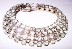 Rhinestone Bracelet Art Deco 4 Strands Link by BrightgemsTreasures