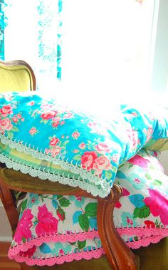Bright pillow cases with crochet edging