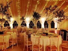 Our beautiful wedding marquee with trees and fairy lights!